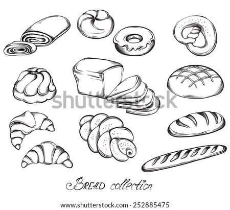 Hand drawn sketch set of breads and buns in line art. Vector illustration of bakery collection in black and white. - stock vector