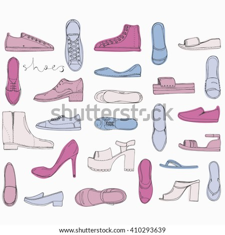 Hand drawn sketch set of Shoes - running shoes sneakers, boots, ballet flats, flip flops, tractor sole shoes, loafer with lettering vector.  - stock vector