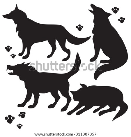 hand drawn sketch set of wolves silhouettes on white background