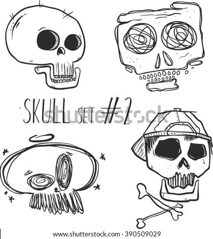 Hand drawn sketch skull. Cartoon skull illustration.Burning skull on black background. Tattoo style. - stock vector