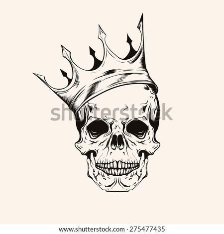 Hand drawn sketch skull with crown tattoo line art. Vintage vector illustration isolated on background. - stock vector