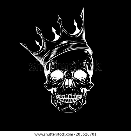 Hand drawn sketch skull with crown. Tattoo line art. Vintage vector illustration isolated on black background. - stock vector