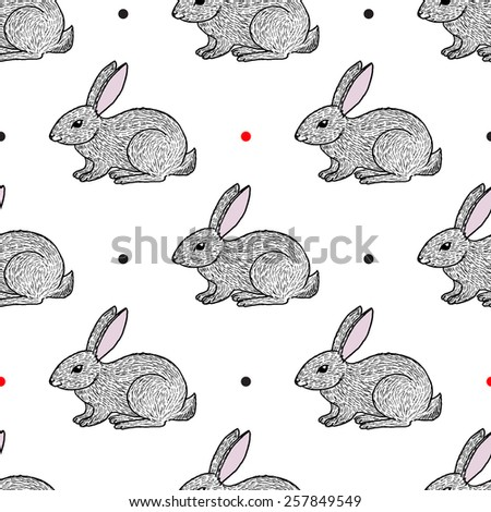 Hand drawn sketch style hares seamless pattern - stock vector