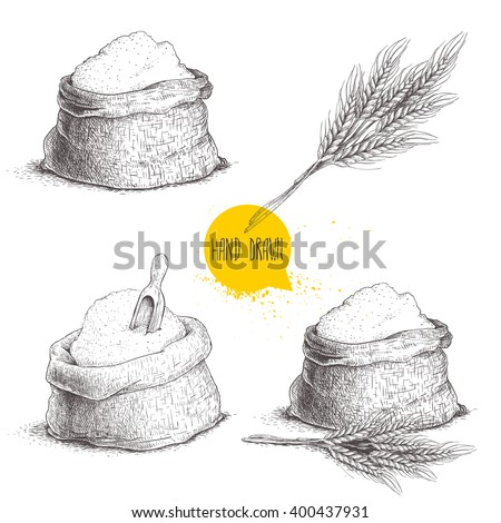 Hand drawn sketch style set of sacks with whole flour and wheat bunch isolated on white background. Bag with sugar, flour sack with wooden scoop, wheat sheaf. - stock vector