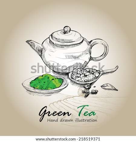 Hand drawn sketch vector green tea background.