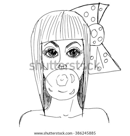 Hand drawn  sketch. Vector illustration. Black and white portrait glamorous  girl with chewing gum. - stock vector