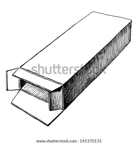 hand drawn, sketch, vector illustration of open box