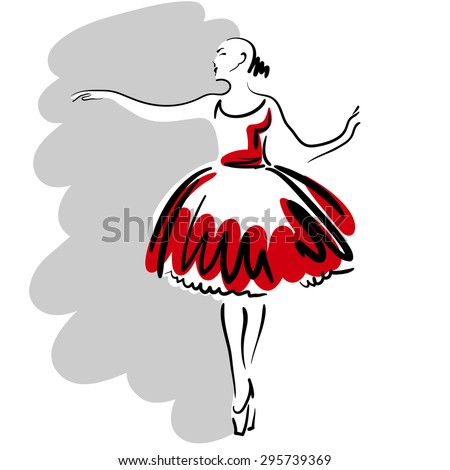 Hand drawn sketch with a ballet dancer in a red fluffy dress.