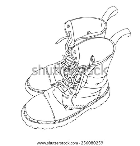 Hand drawn sketch with army boots. Vector illustration - stock vector