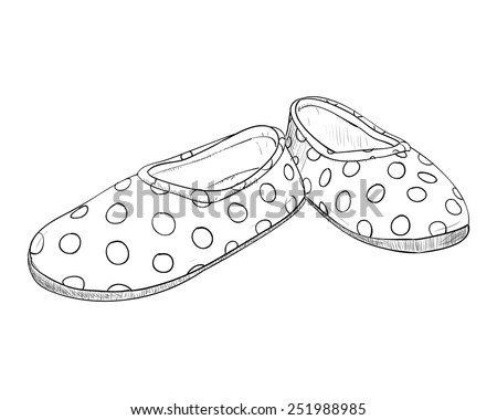 Hand drawn sketch with children's slippers. Vector illustration - stock vector