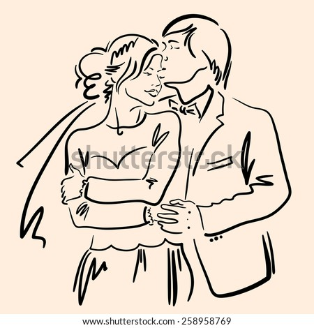Hand drawn sketch with happy bride and groom. - stock vector