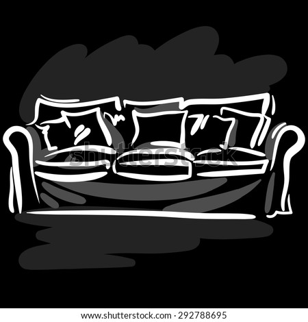 Hand drawn sketch with soft couch and pillows on the black background. - stock vector