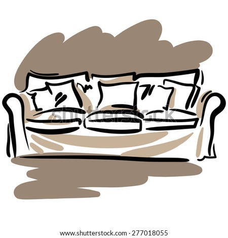 Hand drawn sketch with soft nice couch and pillows on the white background. - stock vector
