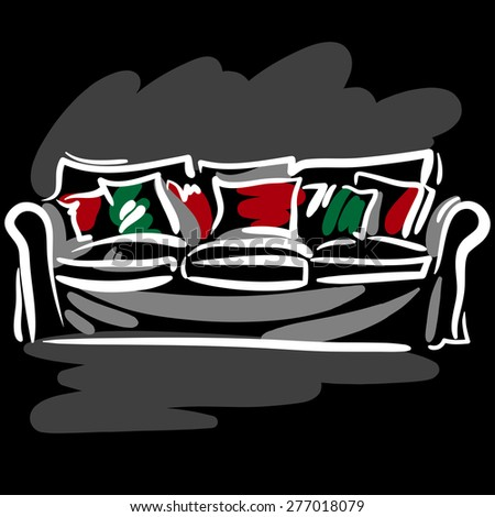 Hand drawn sketch with soft white couch and colored pillows on the black background. - stock vector
