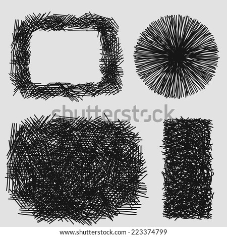 Hand drawn sketches rough hatching grunge texture. vector illustration - stock vector