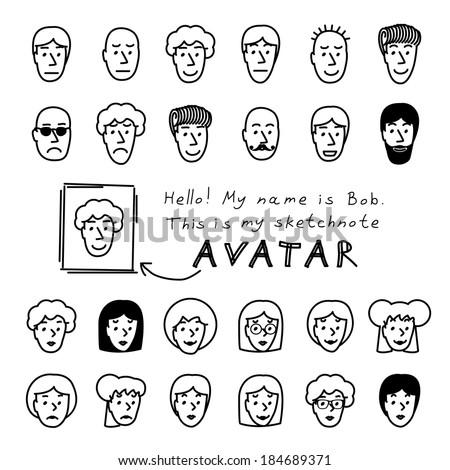 Hand drawn sketchnote faces. Vector avatars set - stock vector