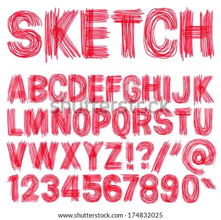 Hand drawn sketchy alphabet. Handwritten font. Isolated in white background. Vector illustration. - stock vector