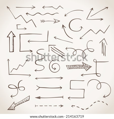 Hand-drawn sketchy arrows in sepia. Vector illustration for advertising and business presentations. - stock vector