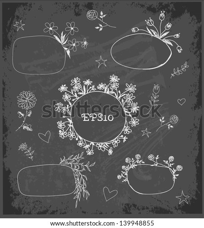 Hand-Drawn Sketchy Borders with Flowers and Plants on black chalkboard. Doodles Vector Illustration - stock vector