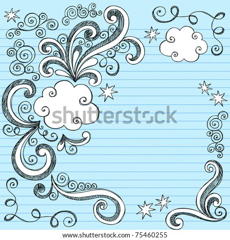 Hand-Drawn Sketchy Clouds and Swirls Notebook Doodles- Design Elements on Lined Paper Background- Vector Illustration - stock vector