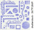 Hand-Drawn Sketchy Doodle Design Elements on Graph (Grid) Notebook Paper Vector - stock vector