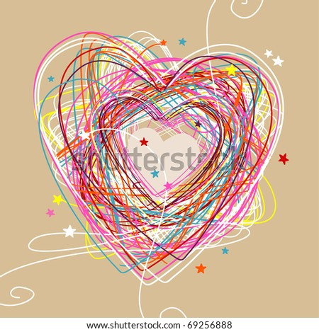 hand drawn sketchy & doodle heart - stock vector