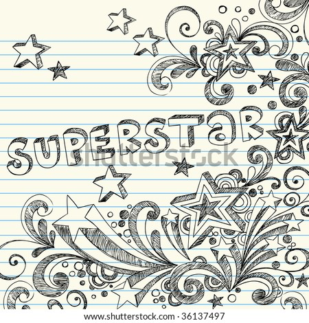 Hand-Drawn Sketchy Doodles and Lettering on Lined Notebook Paper Vector - stock vector