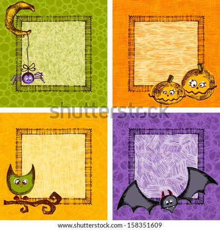 Hand drawn, sketchy, doodles Halloween frame cards. Seamless backgrounds. - stock vector