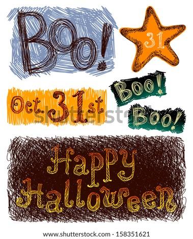 Hand drawn, sketchy, doodles Halloween text set. - stock vector