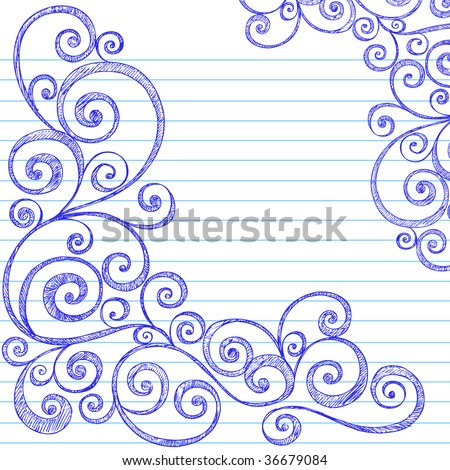 Handdrawn Sketchy Doodles Swirly Border On Vector 36679084 – Lined Border Paper