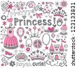 Hand-Drawn Sketchy Fairy Tale Princess Tiara Crown Notebook Doodle Design Elements Set Vector Illustration - stock vector