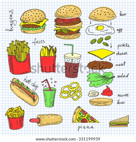 Hand-drawn sketchy fast food illustrations. Vector american food art.