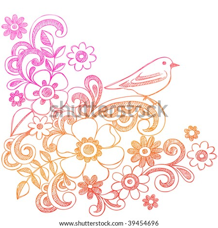 Hand-Drawn Sketchy Flower and Bird Notebook Doodles Vector Illustration - stock vector
