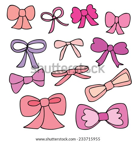 Hand Drawn Sketchy Girlie Bows - stock vector