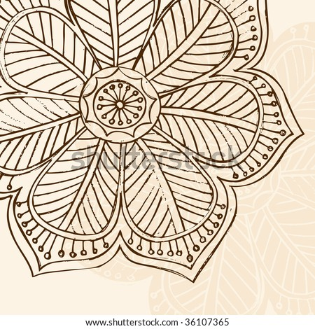 Hand-Drawn Sketchy Henna Doodle Flower Vector Illustration - stock vector
