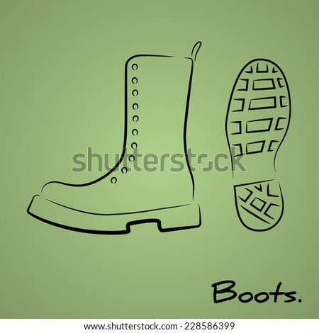 Hand drawn sketchy logo with stylized military boots - stock vector