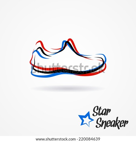 Hand drawn sketchy logo with stylized shoe and star - stock vector