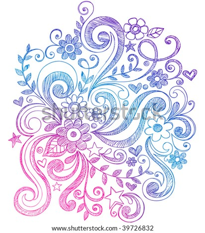 Hand-Drawn Sketchy Notebook Doodle Flower and Swirl Vector Illustration - stock vector