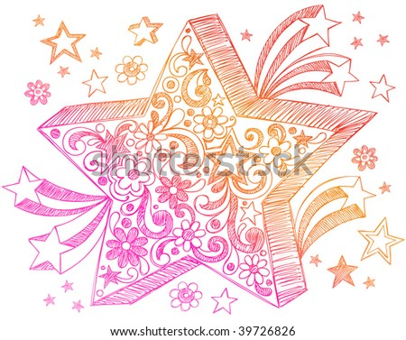 Hand-Drawn Sketchy Notebook Doodle Star Vector Illustration - stock vector