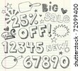 Hand-Drawn Sketchy Notebook Doodles 25% Percent Discount Sale & Shopping Vector Tags- Illustration Design Elements on Lined Sketchbook Paper Background - stock vector