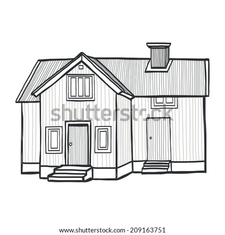 Hand drawn sketchy scandinavian house. Freehand sketch of a small countryside home, isolated on white background. - stock vector
