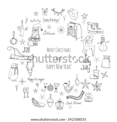 Hand drawn sketchy wreath with christmas elements Doodle vector illustration Santa Claus, Snowmen, snowflakes Christmas tree ice skating, deer, angel, penguin, Holly Jolly, decoration, Merry Christmas - stock vector