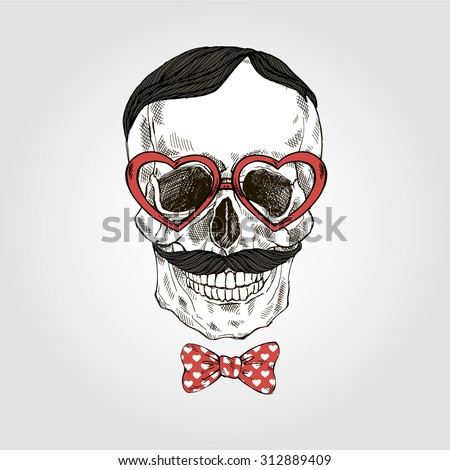 hand drawn skull in tie bow and heart shaped glasses, Valentine Day design - stock vector