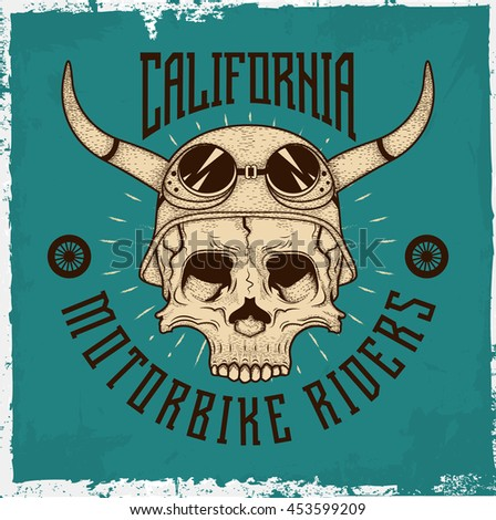Hand drawn skull with a helmet and text 'Motorbike riders', t-shirt design, on the mint and dusty background