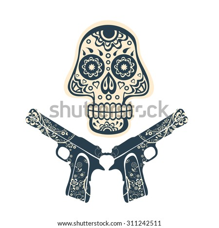 Hand drawn skull with guns on a grungy background in vintage style. Vector illustration - stock vector