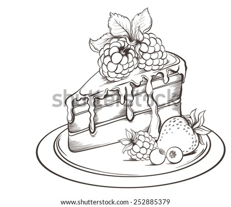 Hand Drawn Slice Cake Icing Berry Stock Vector 252448522 ...