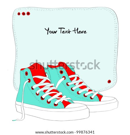 Hand drawn sneakers - stock vector