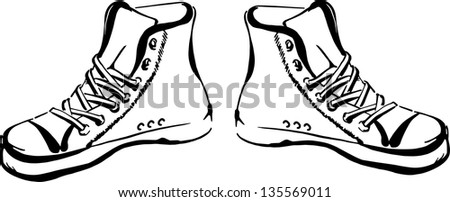 Hand drawn sneakers (gumshoes) isolated on white background - stock vector