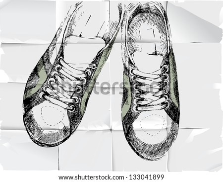 Hand drawn sneakers over crumpled paper background - stock vector