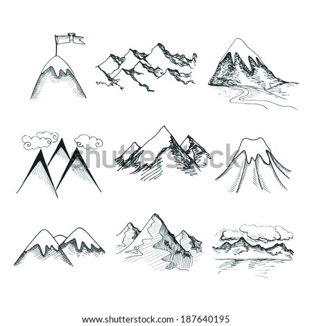 Hand drawn snow ice mountain tops decorative icons isolated vector illustration - stock vector